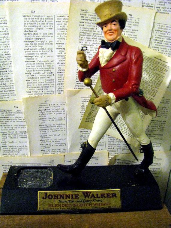 Antique Rare Johnnie Walker Striding Man Statue And Bottle
