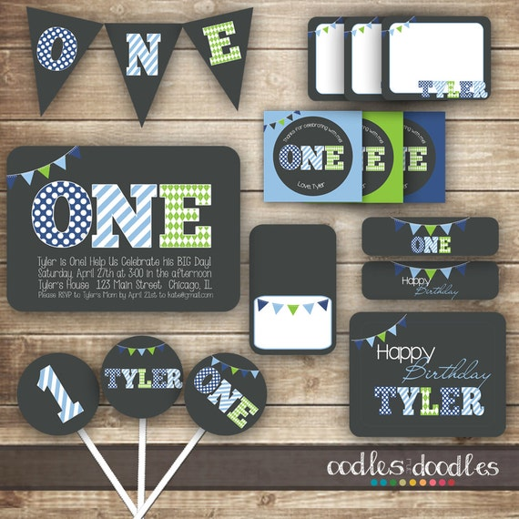 1st Birthday Party, Boys First Birthday Party Package, Blue and Green ...