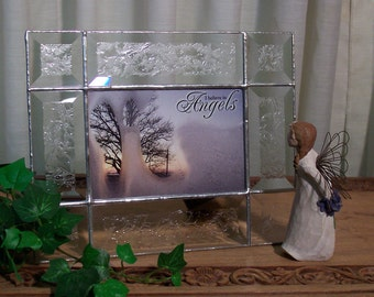 Beveled glass picture frame - 4x6 - frosted bevels