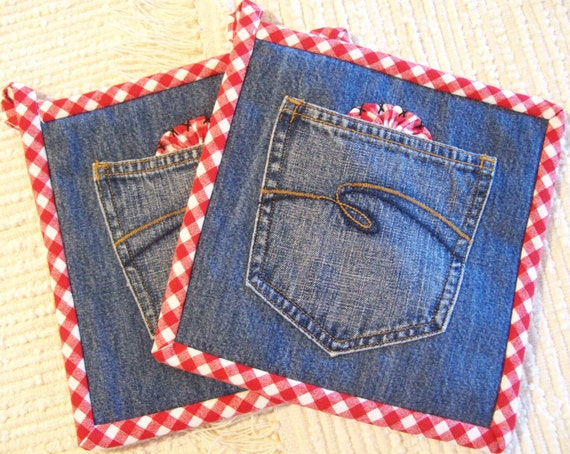Denim Amp Red Gingham Hot Pads Set Of Two