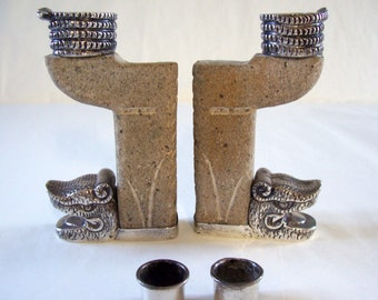 Vintage Candle Holder Pair Sterling Silver and Carved Stone Made In Mexico Mid Century