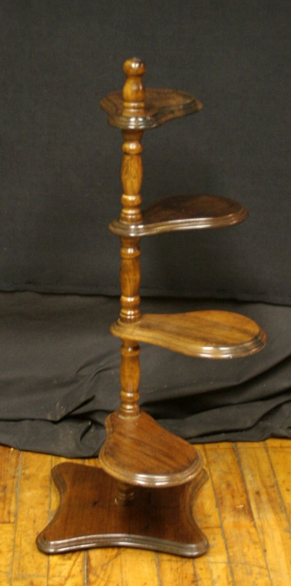 Vintage Wooden Spiral Ladder Plant Holder Stand