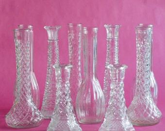 "Clear Glass Vintage 20 Bud Vase Collection, Tall 9"" bud vases, DIY Wedding Decor, Cut Glass Vase Bundle Lot"