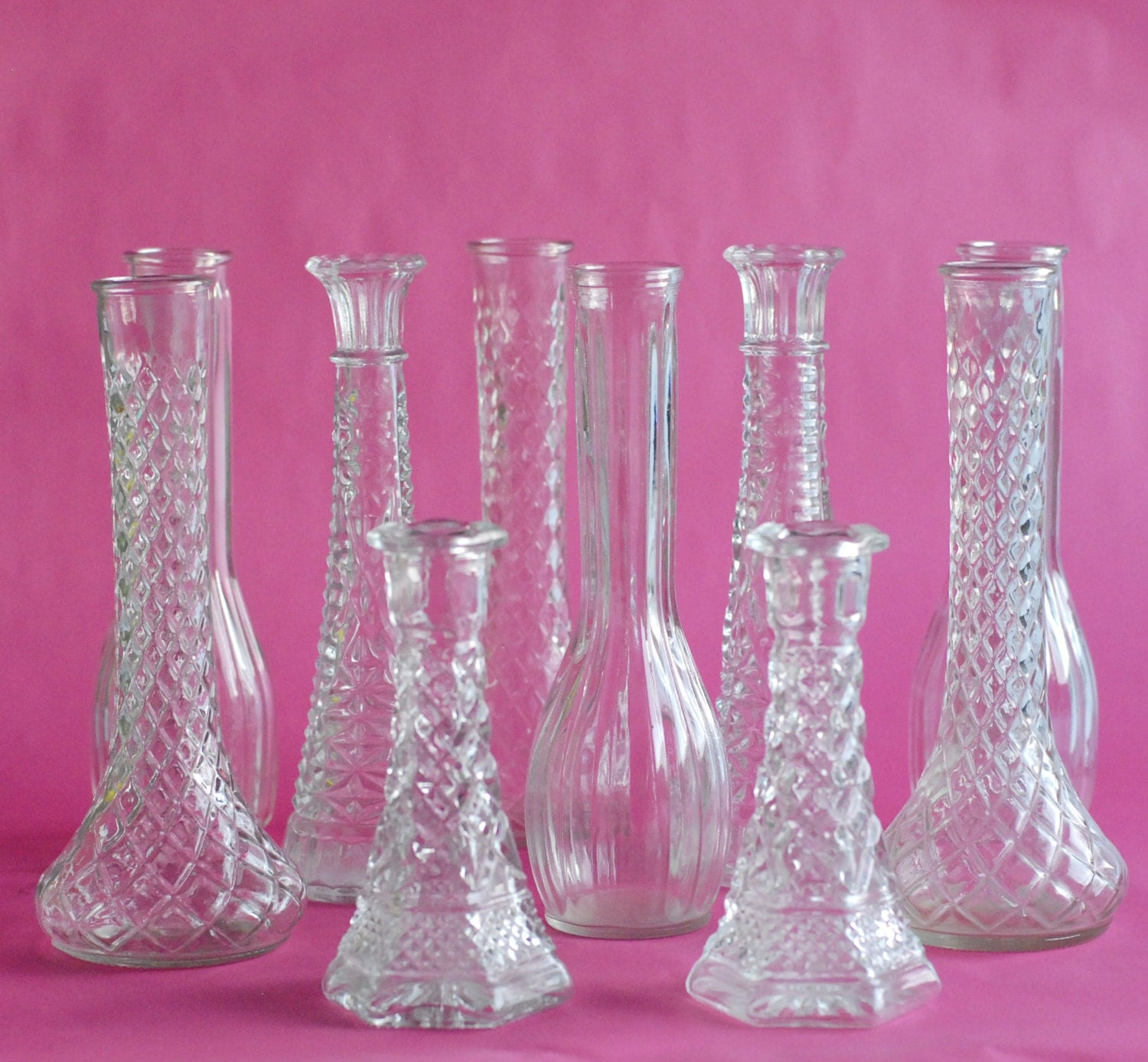 clear glass vintage 20 bud vase collection tall 9 bud. Black Bedroom Furniture Sets. Home Design Ideas