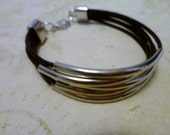 Dark Brown Leather Bracelet with Silver Curved Tube Connectors