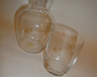 Vintage Glass Pitcher and Drinking Glass Night stand Bed side Table Set Hand blown Hand Cut