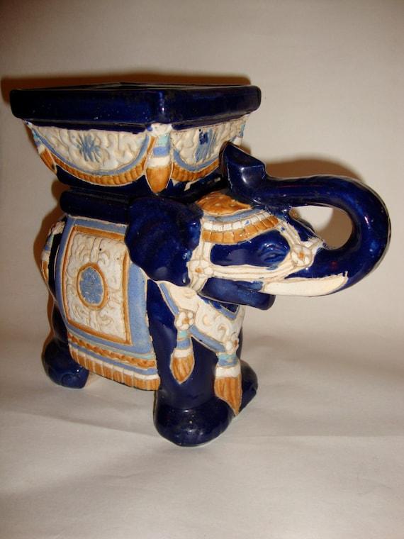 Vintage Ceramic Elephant Stool Planter Statue Figurine