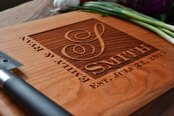 Personalized Cutting Board Engraved Cherry Wood