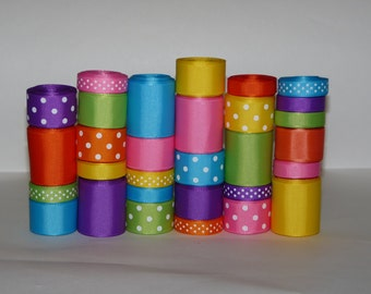 """Rainbow Bright Grosgrain Ribbon Lot (Choose 1 or 2 yards EACH of 30 different ribbons -- 3/8, 7/8 and 1.5"""" Solids and Dots)"""