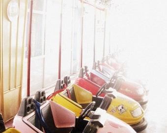 Fairground Photography - Dodgem Cars Fine Art Print - Children's Room Decor - Pastel Childhood Art - 8x10