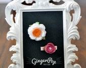 Felt Flower Clip Set - Pink & White Flower Hair Accessory - Newborn, Toddler, Adult Alligator Clip - Baby Photo Prop