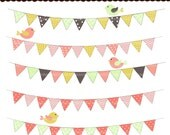 50% sale, bunting clip art , INSTANT DOWNLOAD Flag Bunting Digital clip art, Flag BUNTING 3