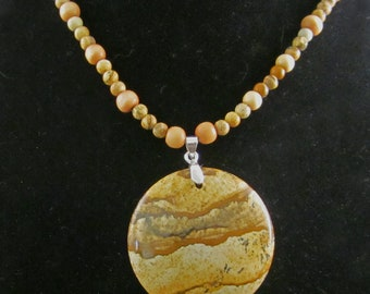 Beautiful Picture Jasper pendant with gemstone bead necklace