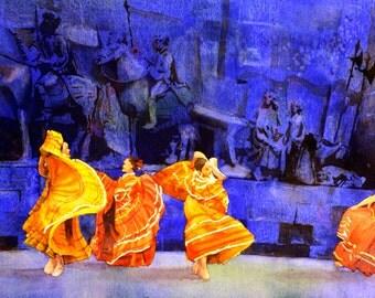 Dancers in bright dresses in historical downtown Guadalajara, Mexico.  Art Guadalajara painting watercolor Mexico.  Watercolor painting