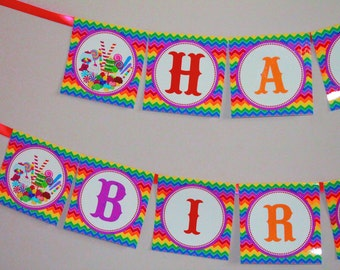 INSTANT DOWNLOAD - Candy Land Party - Printable Happy Birthday Banner