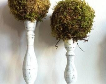 Moss Topiaries (Set of 2), Topiary, Moss Ball, Moss Decor, Garden Decor, Moss Wedding, woodland Wedding