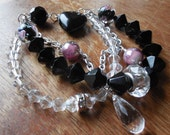 Charm Bracelet with Black and Clear Diamond Beaded Strands