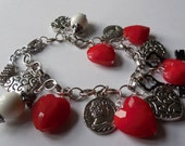 Valentine LOVE Charm Bracelet with Heart, Key, and Coin Charms and Red & White Beads
