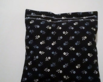 BELTANE Blend Reiki Rest and Relaxation Small Square Herbal Dream Pillow in NAVY FLOWERS
