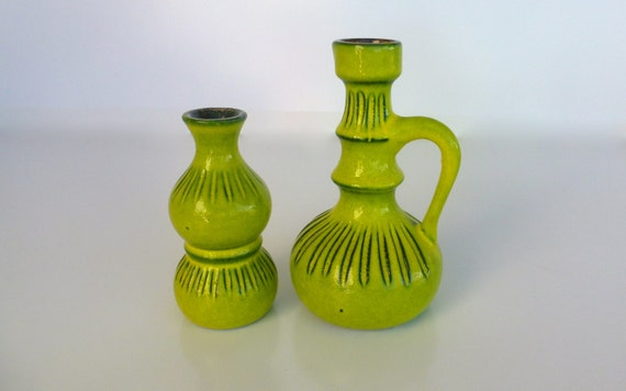 Retro Lime Green Clay Vases