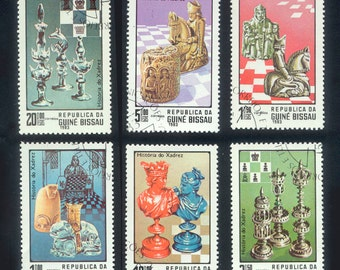 Chess Postage Stamps from Guinea Bissau - 1983 - Collage, Crafts, Handmade Cards