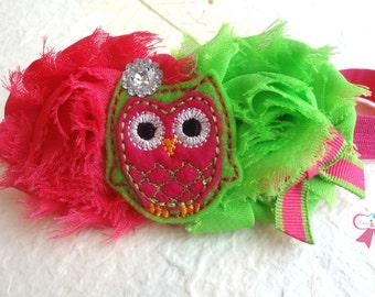Baby Headband / Hot Pink Lime Owl Headband /  Hot Pink Owl Girls headband / Baby Headbands / Baby Photo Props, infant headband