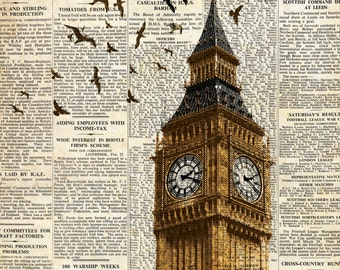 Big Ben and birds on newspaper. London. Wall art decoration print.