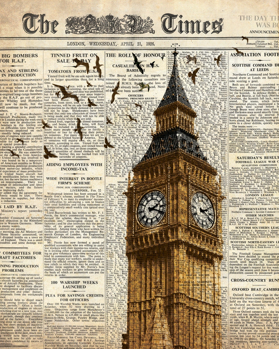 Wall decoration using old newspaper : Big ben and birds on newspaper london wall art decoration