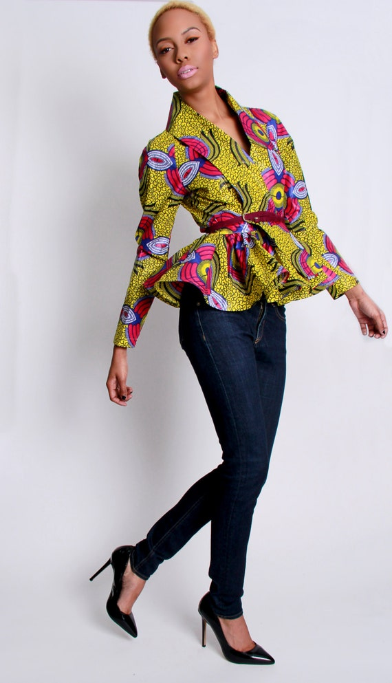 The Patricia- African Print 100% Holland Wax Cotton Wrap Cardigan Jacket
