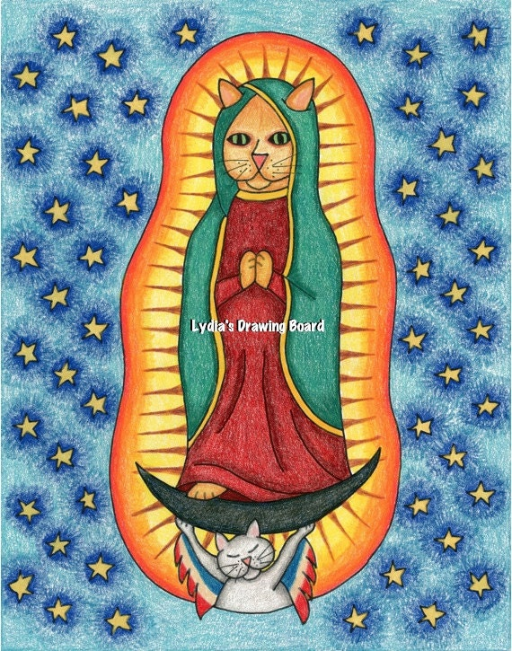 Our Lady of Guadalupe, Art, Original Drawing, Colored Pencil Art, Cat, Cat Art, Whimsical Art, Kitty, Mexican Folk Art, Virgen de Guadalupe