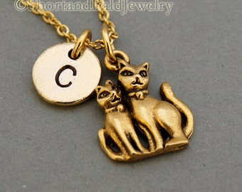 Two cats charm necklace, Cat and kitten, cat necklace, antique gold, initial necklace, initial hand stamped, personalized, monogram