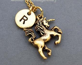 Unicorn necklace, Gold unicorn Charm necklace, Gold unicorn jewelry, initial necklace, initial hand stamped, personalized, monogram
