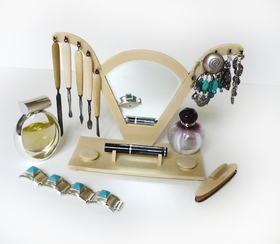 French Art Deco Mirror and Table Manicure Stand