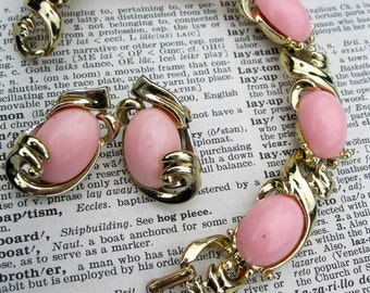 Pink and Gold Vintage Bracelet and Clip On Earring Set