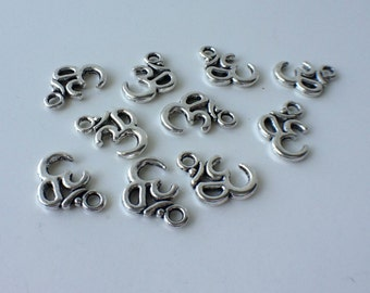 10 - Antique Silver Om Charms - Ohm - Double Sided