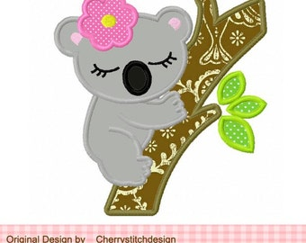 Koala Machine Embroidery Applique Design -4x4 5x5 6X6""