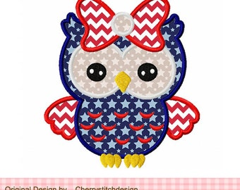 """4th of July owl Patriotic owl Machine Embroidery Applique Design - 4x4 5x5 6x6"""" JULYO2"""