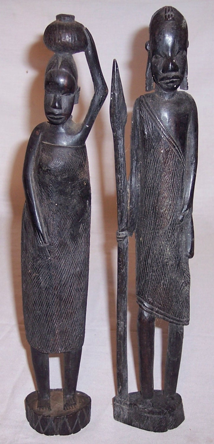 African Tribal Art Carved Wood Figures Male By Antiqueaddicts