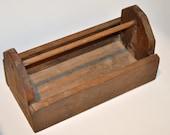 Vintage Rustic Wood Tool Caddy/Tool Box