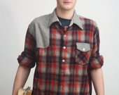 Vtg Plaid men's shirt in Grey/Oxblood/Red - AbleCrewVintage