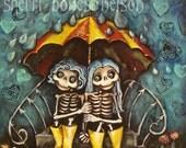 Cute Best Friend Art Print. Sister Girlfriend Twin Illustration. Day of the Dead Skeleton Umbrella Scene. Birthday Gift Home Decor Wall Art