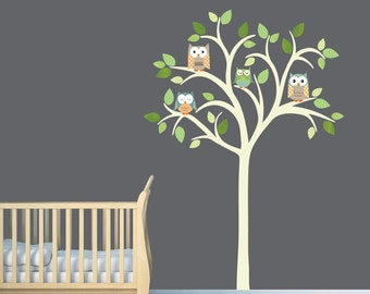 Owl tree decal, Owl tree wall sticker, Owl Nursery Art, owl wall decal, nursery owl decor, Timothy Design