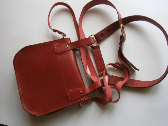 Red Lalibela's Double Betled HipBag , Crossbody bag, Hip Bag, Belt Bag, Handmade Genuine Leather Hipbag, Made to order