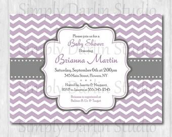 DIGITAL Purple/Lavendar and Gray CHEVRON - Baby Shower Bridal Shower or Birthday Invitation Invite Boy or Girl Printable You Print