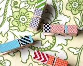 Multi-Colored & Designed Washi Tape Clothes Pins with Orange String - ElleSeaCreations