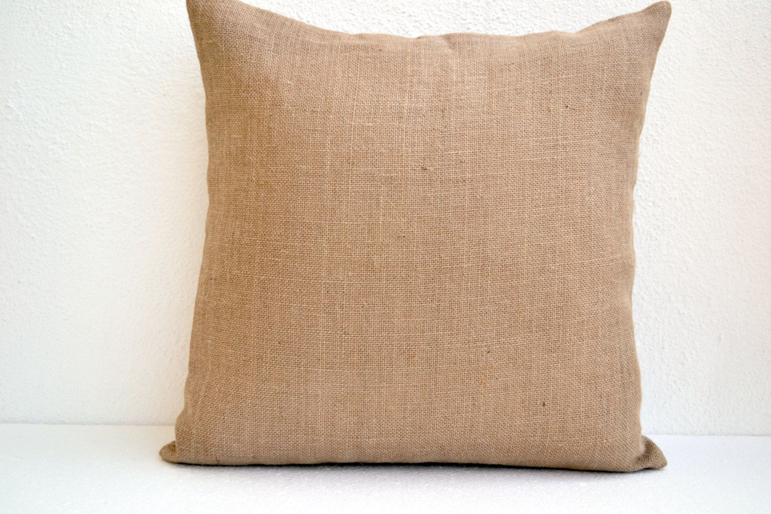Natural Burlap Pillow Cover Button Closure Decorative Throw