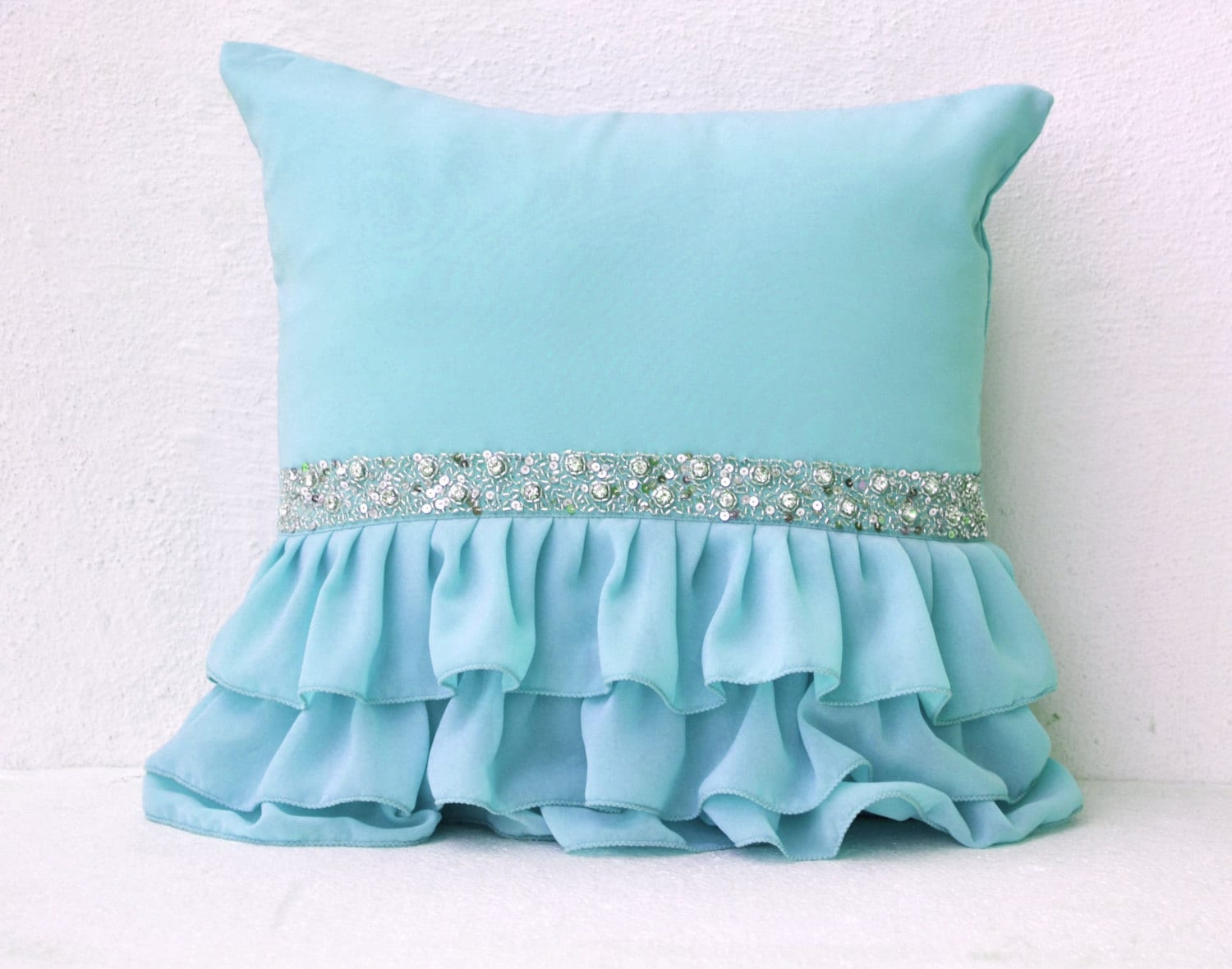 Blue Ruffle Throw Pillow : Blue Decorative Pillow with Sequins Ruffle Pillow Sky Blue