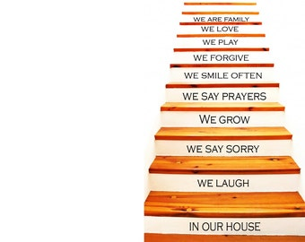 Stair Decals - Home Decals - In this House Wall Decal - Wall Decal - Housewares Vinyl Decal - Home Decor - Family Decals