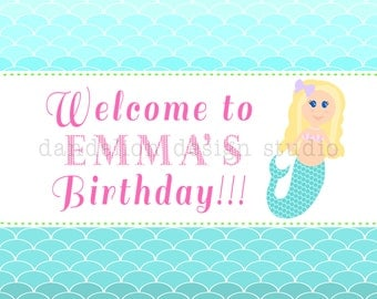PRINTABLE Welcome Sign - Mermaid Party Collection - Dandelion Design Studio