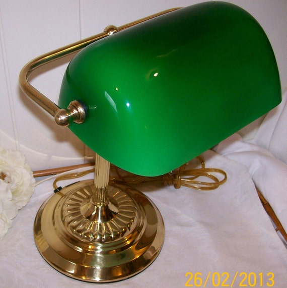 Vintage Brass Bankers Desk Lamp Library Lamp Students – Desk Lamp Green Shade